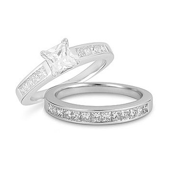 14K WG Diamond Princess Cut  Wedding Band