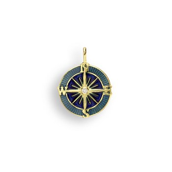 Blue Compass Rose Pendant.18K -Diamond