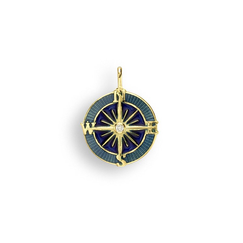 Nicole Barr Designs Blue Compass Rose Pendant.18K -Diamond