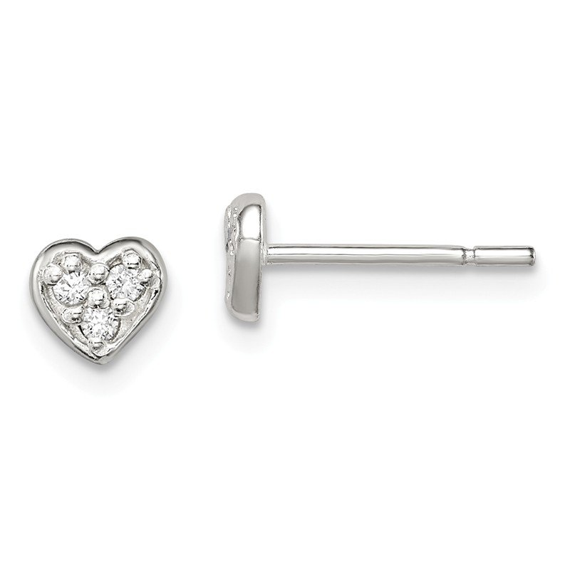 Quality Gold Sterling Silver CZ Heart Post Earrings