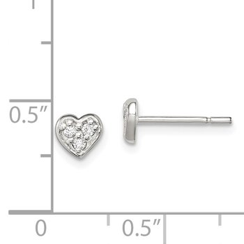 Sterling Silver CZ Heart Post Earrings