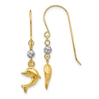 14K Two Toned Puffed Dolphin Shepherd Hook Earrings