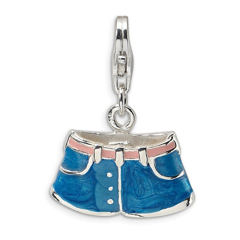 Quality Gold Sterling Silver 3-D Enameled Blue Jean Shorts w/Lobster Clasp Charm