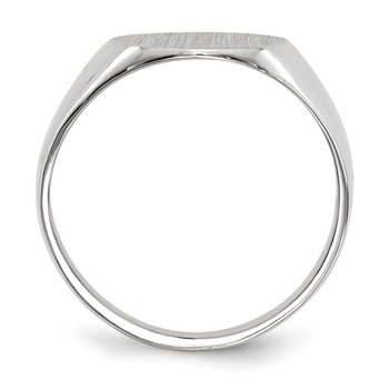 14k White Gold 12.5x12.0mm Closed Back Signet Ring