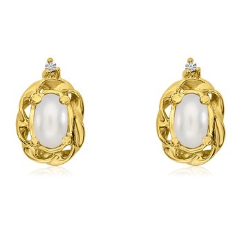14k Yellow Gold Freshwater Cultured Pearl Scroll Diamond Earrings