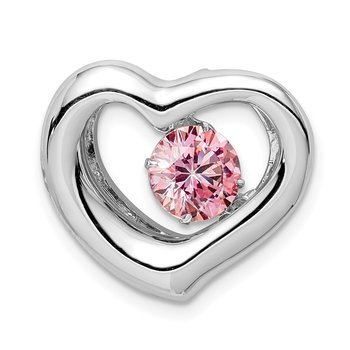 Sterling Silver Platinum-plate Swar Zirconia Vibrant Pink CZ Heart Pendant