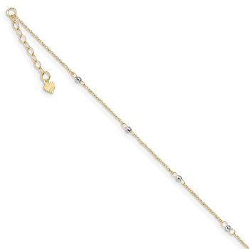 14K Two-tone Ropa Mirror Bead 9in Plus 1in Ext. Anklet