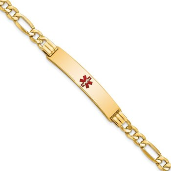 14K Semi-Solid Medical Red Enamel Figaro Link ID Bracelet