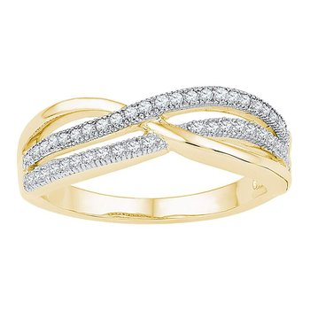 10kt Yellow Gold Womens Round Diamond Crossover Band Ring 1/5 Cttw