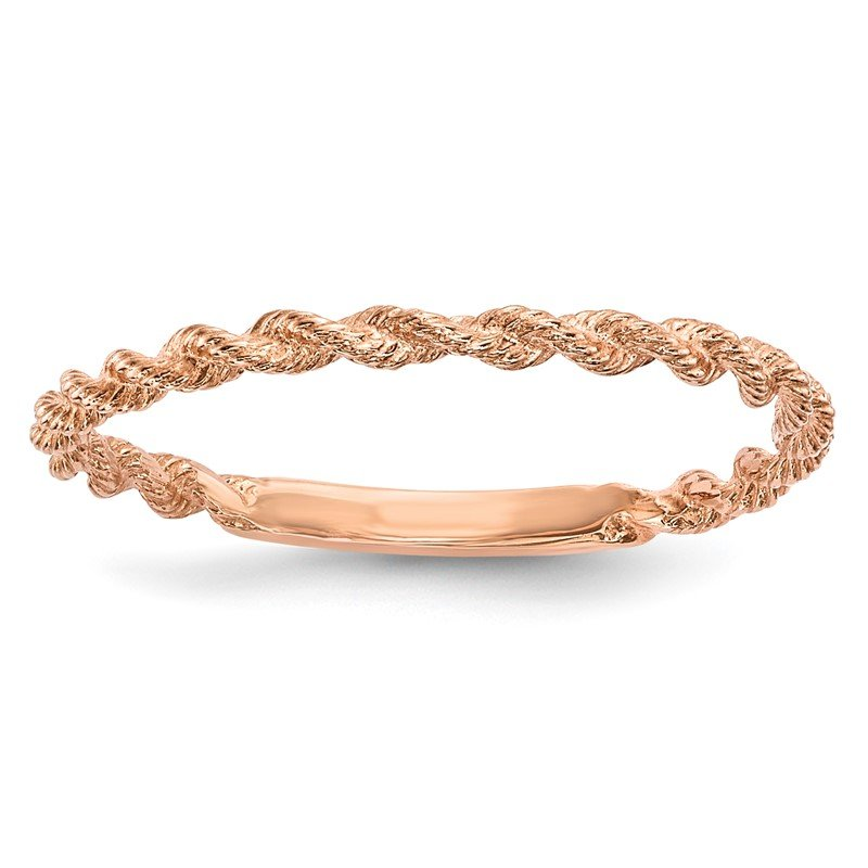Quality Gold 14k Rose Gold Polished Twisted Rope Ring