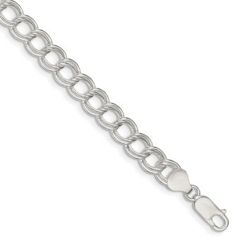 Sterling Silver 7.5mm Double Link Charm Bracelet