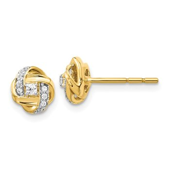 14k White Gold Diamond Knot Post Earrings