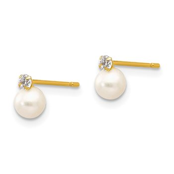 14k Madi K 5-6mm Near Round FW Cultured Pearl CZ Post Earrings