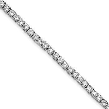 Cheryl M Sterling Silver Rhodium-plated Polished Fancy CZ Tennis Bracelet