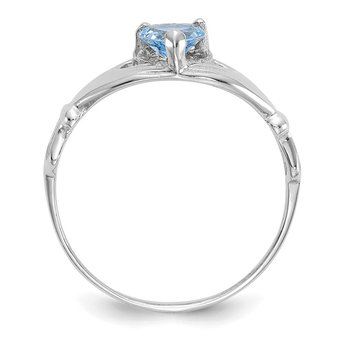 14k White Gold CZ March Birthstone Claddagh Heart Ring
