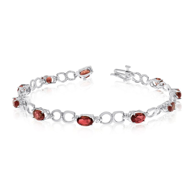 Color Merchants 10K White Gold Oval Garnet and Diamond Bracelet