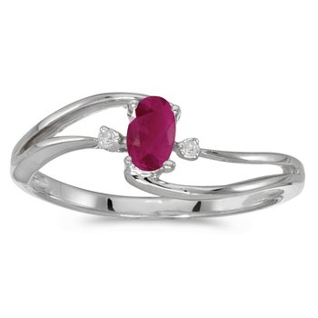 10k White Gold Oval Ruby And Diamond Wave Ring