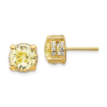 Cheryl M Sterling Silver Gold-plated 8mm White & Canary CZ Stud Earrings