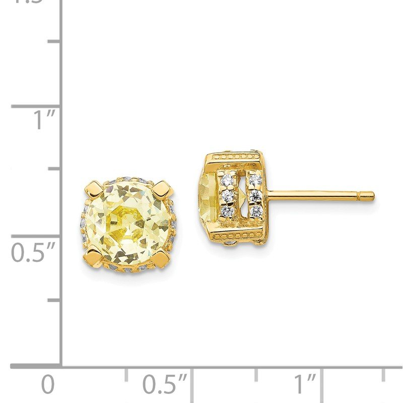 Cheryl M Cheryl M Sterling Silver Gold-plated 8mm White & Canary CZ Stud Earrings