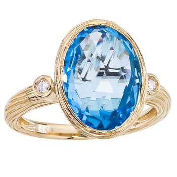 14k Brushed Yellow Gold Oval Blue Topaz and Diamond Ring