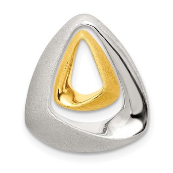 Sterling Silver Gold-plated Satin/Polished Triangle Slide