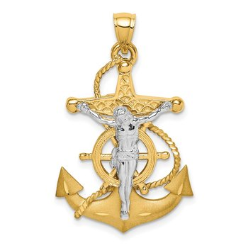 14K Two-tone Polished/Satin D/C Mariner Cross Pendant