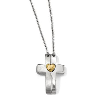 Sterling Silver Gold-plated Magnetic Cross w/ Heart Adjustable Necklace