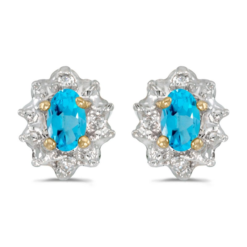Color Merchants 10k Yellow Gold Oval Blue Topaz And Diamond Earrings