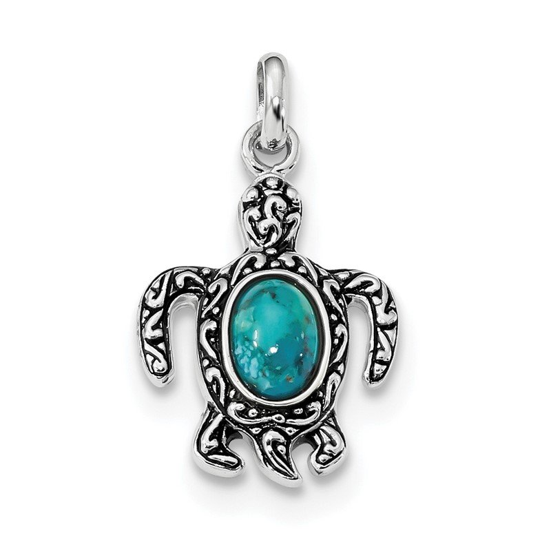 Quality Gold Sterling Silver Rhodium/Oxidized Reconstituted Turquoise Turtle Pendant
