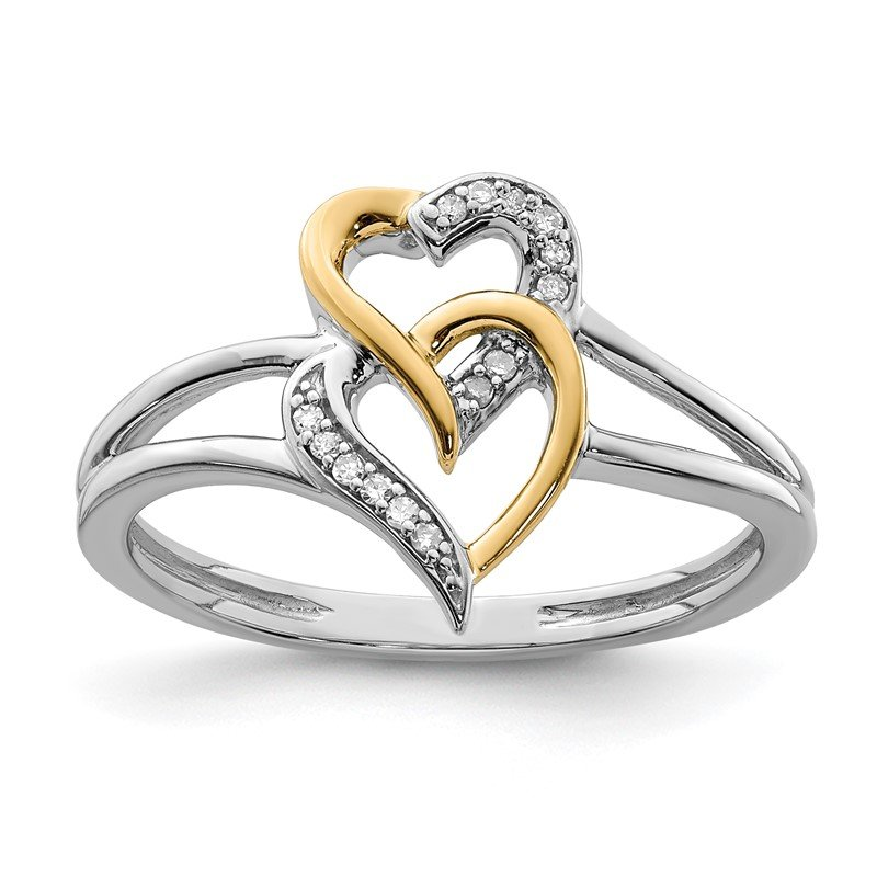 Quality Gold Sterling Silver Rhodium & 14K Two Tone Diam. Double Hearts Ring