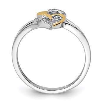 Sterling Silver Rhodium & 14K Two Tone Diam. Double Hearts Ring