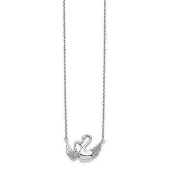 14k White Gold Diamond Swans Necklace