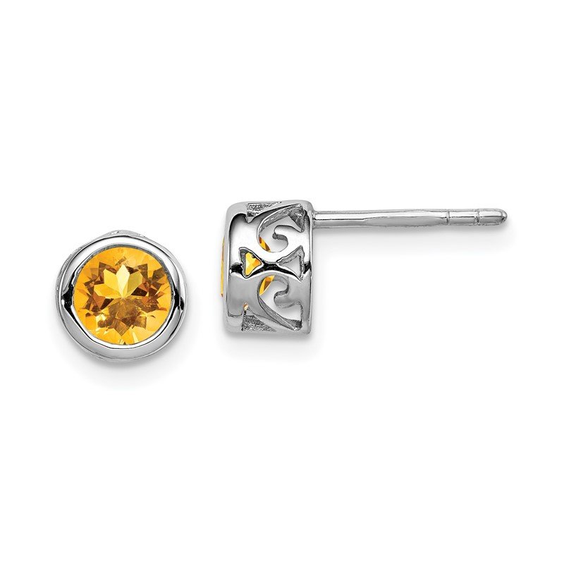Quality Gold Sterling Silver Rhodium-plated Polished Citrine Round Post Earrings