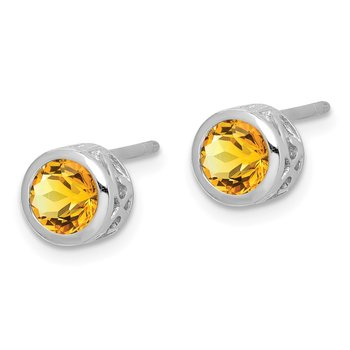 Sterling Silver Rhodium-plated Polished Citrine Round Post Earrings