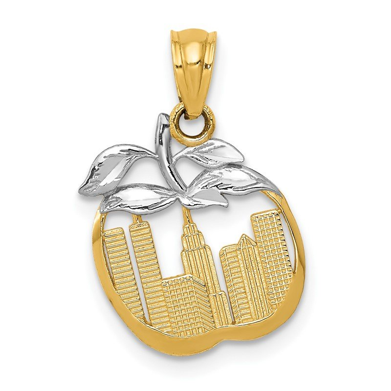 Quality Gold 14k with White Rhodium Cut-out New York Skyline in Apple Pendant
