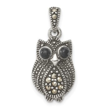 Sterling Silver Marcasite and Black Agate Owl Pendant