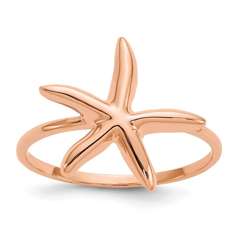 Quality Gold 14k Rose Gold Polished Starfish Ring