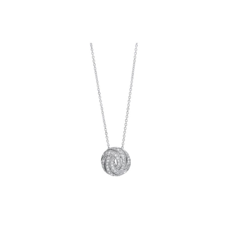 Gems One Diamond Love Knot Swirl Pendant Necklace in Sterling Silver