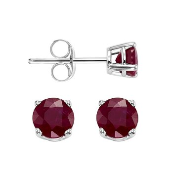 Four Prong Garnet Studs in 14K White Gold (4.5 MM)