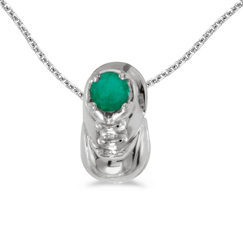 Color Merchants 10k White Gold Round Emerald Baby Bootie Pendant
