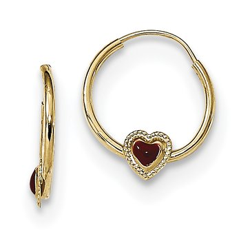 14k Madi K Polished Red Enameled Heart Hoops