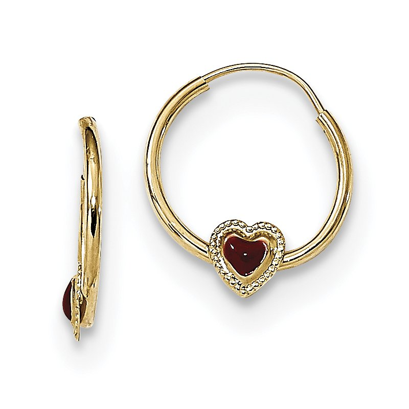Quality Gold 14k Madi K Polished Red Enameled Heart Hoops