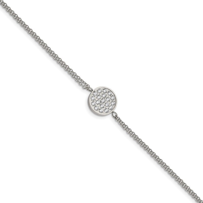 Chisel Stainless Steel Polished with CZ Circle 6.25in w/2in ext. Bracelet
