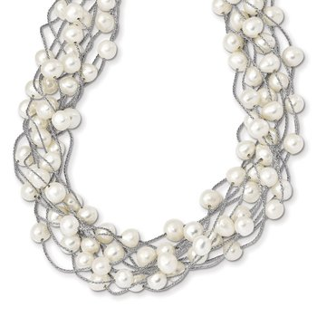 Sterling Silver RH 6-8mm White FWC Pearl Multi-strand Necklace
