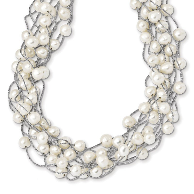 Quality Gold Sterling Silver RH 6-8mm White FWC Pearl Multi-strand Necklace
