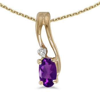 14k Yellow Gold Oval Amethyst And Diamond Wave Pendant