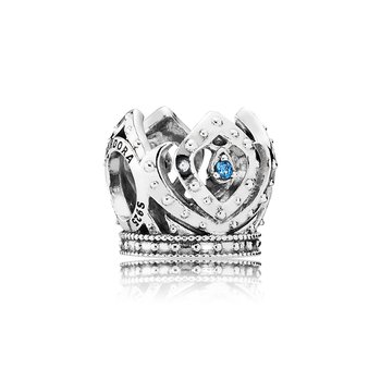 Disney, Elsa's Crown Charm, Blue CZ