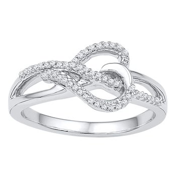 10kt White Gold Womens Round Diamond Heart Infinity Ring 1/6 Cttw