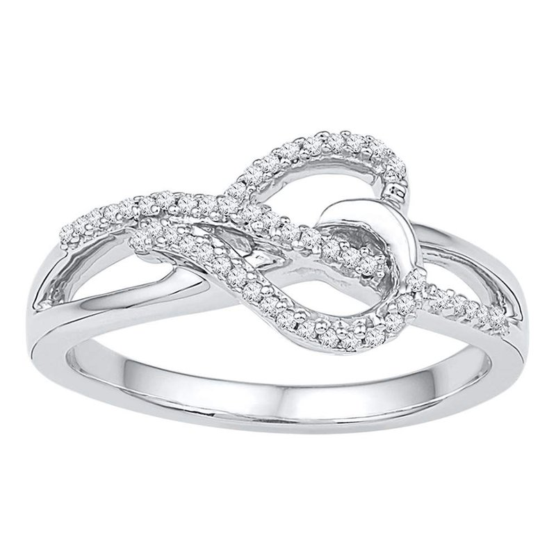 Gold-N-Diamonds, Inc. (Atlanta) 10kt White Gold Womens Round Diamond Heart Infinity Ring 1/6 Cttw
