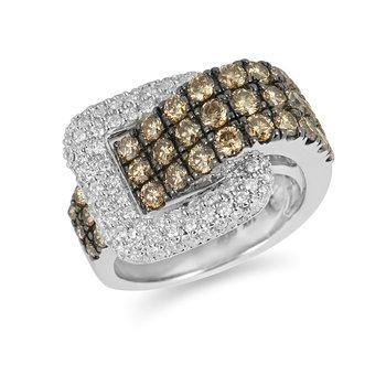 14K WG White and Champagne Diamond Buckel Ring